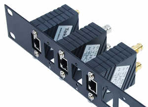 [Photo of Combination Through Coupler Panel with panel mount Balun Adapters]