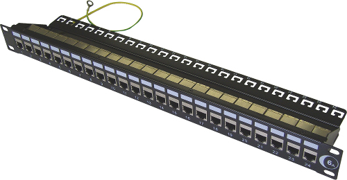 [Photo of 24 Port Shielded RJ45 Through Coupler Patch Panel Cat6]